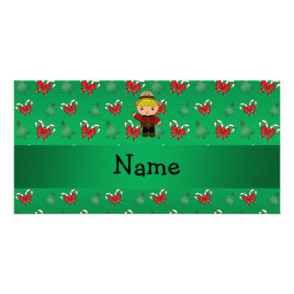 Personalized name mountie green candy canes bows photo greeting card