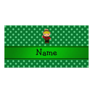 Personalized name mountie green polka dots custom photo card
