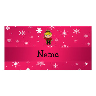 Personalized name mountie pink snowflakes photo cards