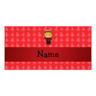 Personalized name mountie red christmas trees photo cards