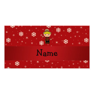 Personalized name mountie red snowflakes photo greeting card