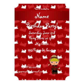 Personalized name mountie red trains 13 cm x 18 cm invitation card