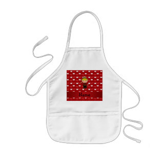 Personalized name mountie red trains kids apron