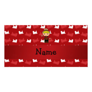 Personalized name mountie red trains picture card