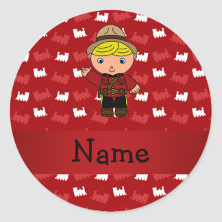 Personalized name mountie red trains round sticker