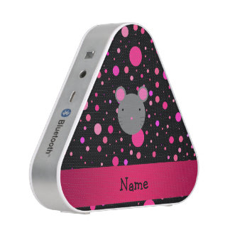 Personalized name mouse black pink polka dots speaker
