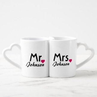 Personalized name Mr and Mrs mug set