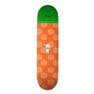 Personalized name mummy orange pumpkins skateboards