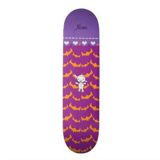 Personalized name mummy purple orange bats skate board