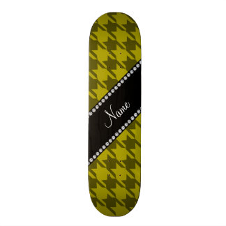 Personalized name mustard yellow houndstooth skateboard