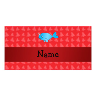 Personalized name narwhal red christmas trees photo cards