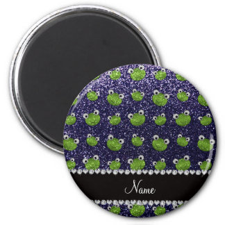 Personalized name navy blue glitter frogs magnet