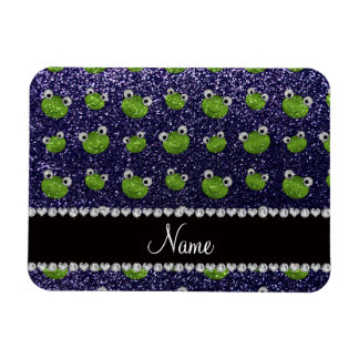 Personalized name navy blue glitter frogs rectangular magnet