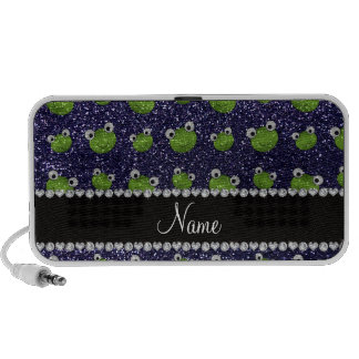 Personalized name navy blue glitter frogs speaker