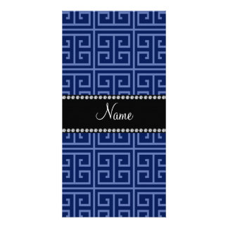 Personalized name navy blue greek key pattern photo card