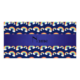 Personalized name navy blue rainbows pattern photo card template