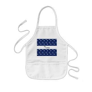 Personalized name navy blue train pattern kids' apron