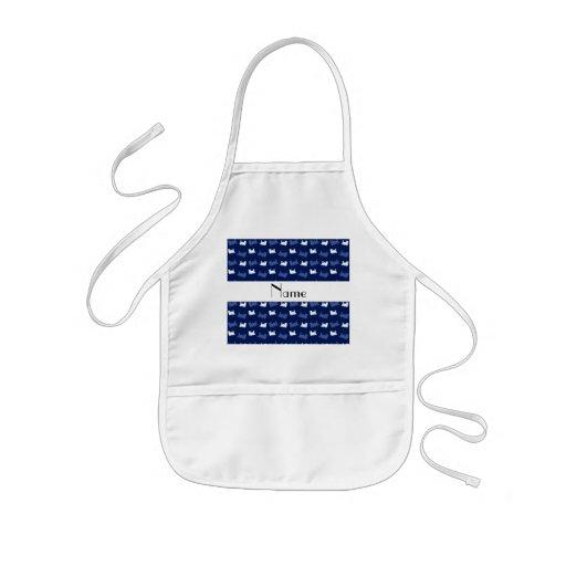 Personalized name navy blue train pattern apron