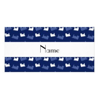 Personalized name navy blue train pattern customised photo card