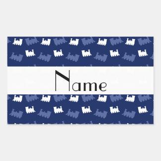 Personalized name navy blue train pattern rectangular sticker