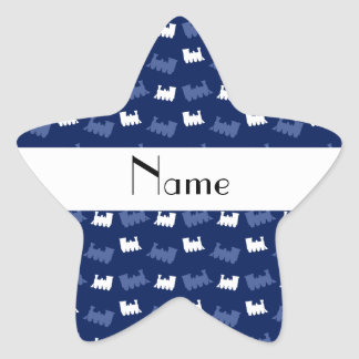 Personalized name navy blue train pattern star sticker
