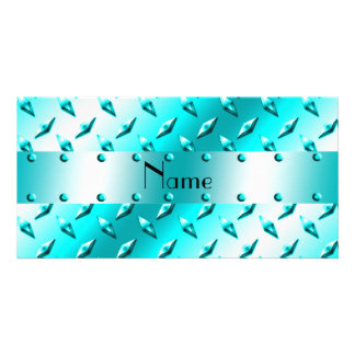 Personalized name neon blue diamond plate steel photo greeting card