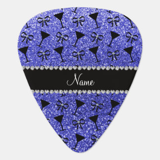 Personalized name neon blue glitter cocktail glass pick