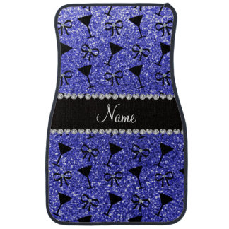 Personalized name neon blue glitter cocktail glass car mat