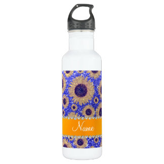 Personalized name neon blue glitter sunflowers 710 ml water bottle