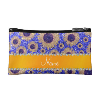 Personalized name neon blue glitter sunflowers cosmetics bags