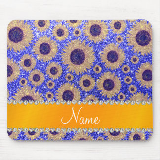 Personalized name neon blue glitter sunflowers mousepad