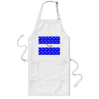 Personalized name neon blue train pattern long apron