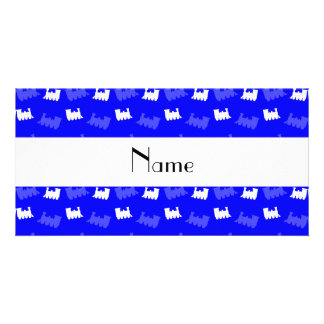 Personalized name neon blue train pattern photo cards