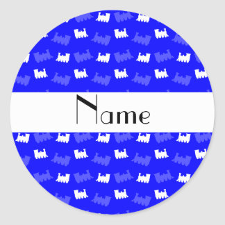 Personalized name neon blue train pattern stickers