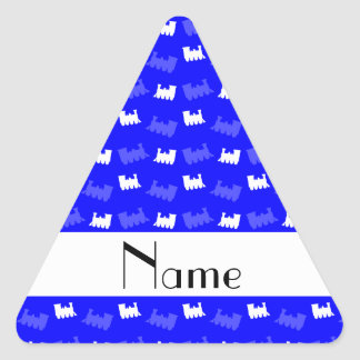 Personalized name neon blue train pattern triangle stickers