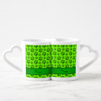 Personalized name neon green dog paws lovers mug set
