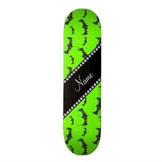 Personalized name neon green glitter bats skate board decks