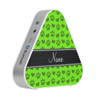 Personalized name neon green hearts and paw prints