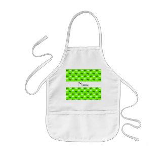 Personalized name neon green train pattern apron