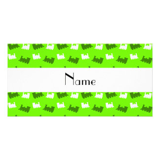Personalized name neon green train pattern photo greeting card