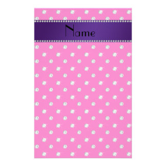 Personalized name neon hot pink diamonds personalized stationery