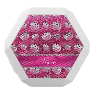 Personalized name neon hot pink glitter cow heads white boombot rex bluetooth speaker