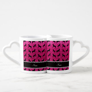 Personalized name neon hot pink glitter dogs couple mugs