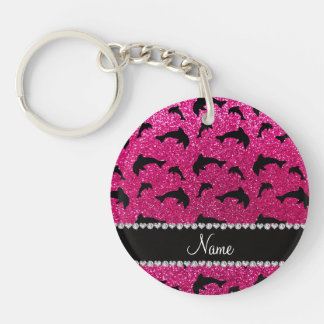 Personalized name neon hot pink glitter dolphins acrylic keychain