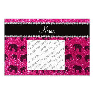 Personalized name neon hot pink glitter elephants photographic print