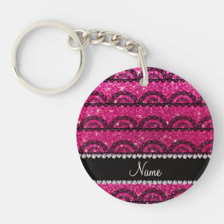 Personalized name neon hot pink glitter lace keychains