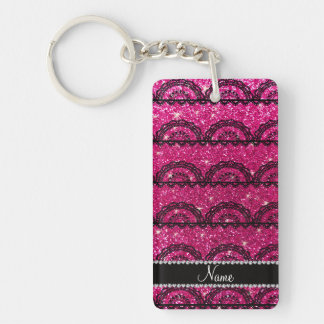 Personalized name neon hot pink glitter lace Double-Sided rectangular acrylic key ring