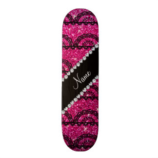 Personalized name neon hot pink glitter lace skateboard