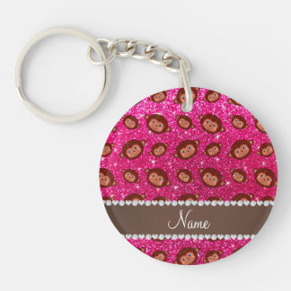 Personalized name neon hot pink glitter monkeys Double-Sided round acrylic keychain