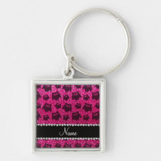 Personalized name neon hot pink glitter owls keychains